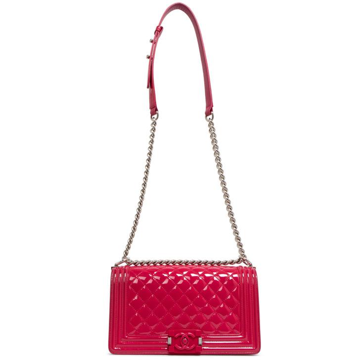Chanel Pink Quilted Patent Medium Plexiglass Boy Bag