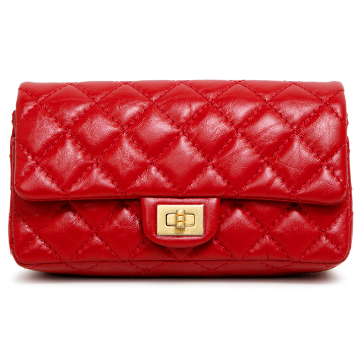 Chanel Red Aged Calfskin 2.55 Reissue Chain Waist Bag