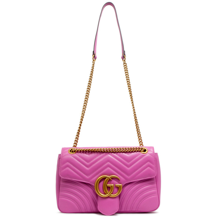 Gucci Pink GG Marmont Matelasse Medium Shoulder Bag