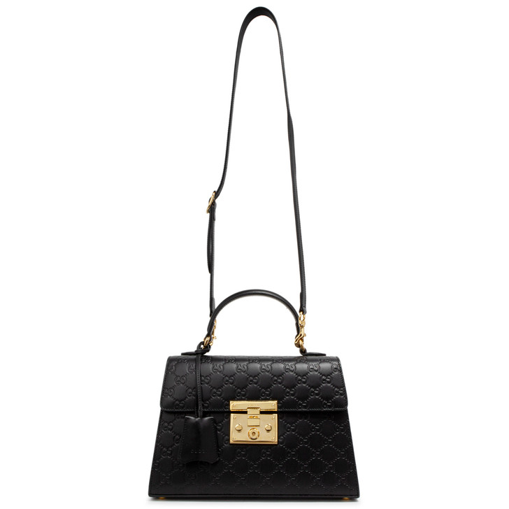 Gucci Black Guccissima Small Padlock Top Handle Bag