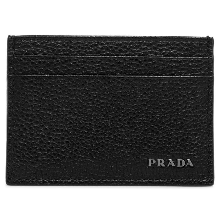 Prada Black Vitello Grain Card Holder