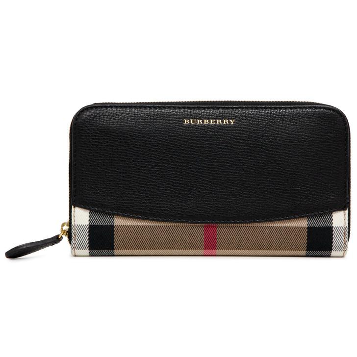 Burberry Black Calfskin & House Check Elmore Zip Around Wallet