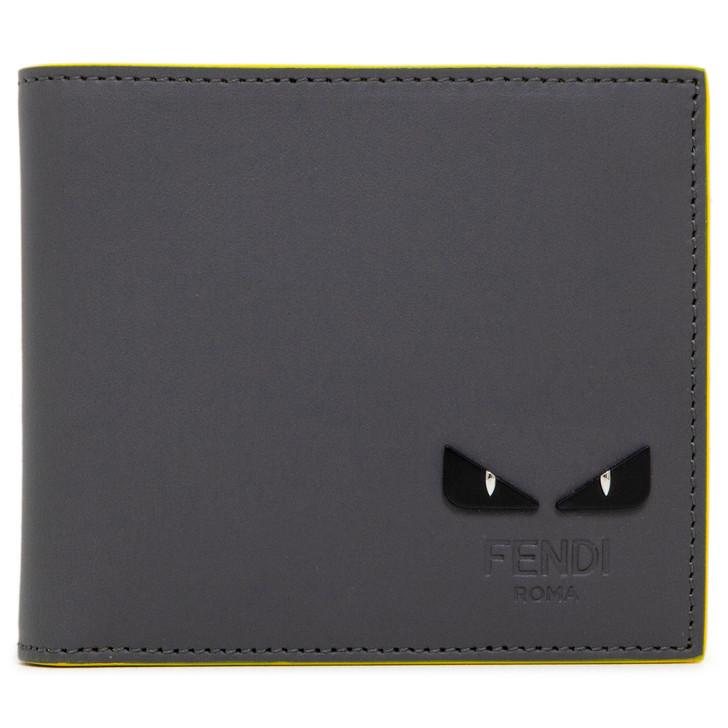Fendi Grey/Yellow Calfskin Monster Eyes BiFold Wallet