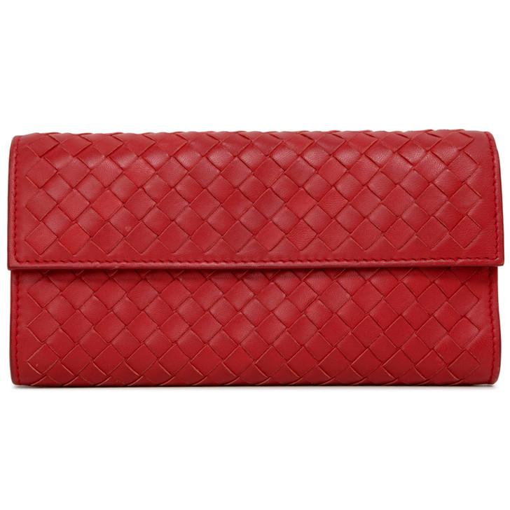 Bottega Veneta Red Intrecciato Continental Wallet