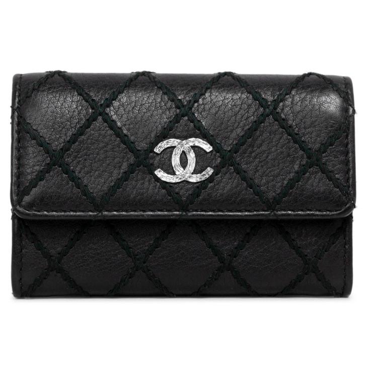 Chanel Black Calfskin Diamond Stitch Flap Card Holder
