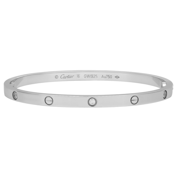 Cartier 18K White Gold 6 Diamond Small Love  Bracelet