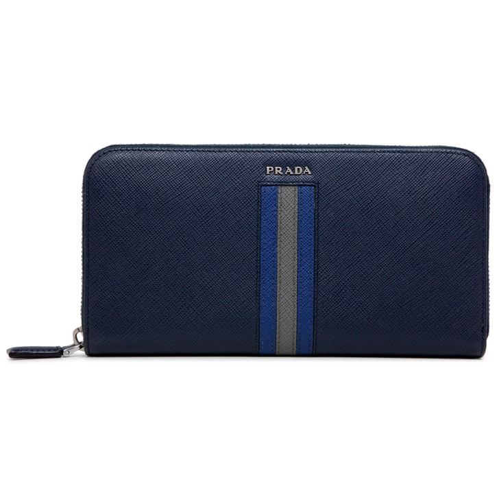 Prada Navy Saffiano Intarsia Zip Around Wallet