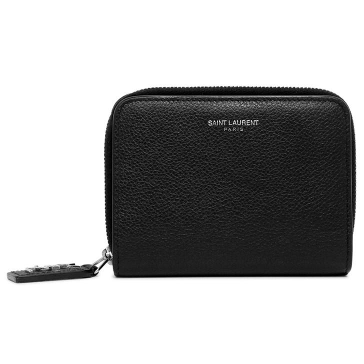 Saint Laurent Black Grained Calfskin Rive Gauche Compact Zip Around Wallet