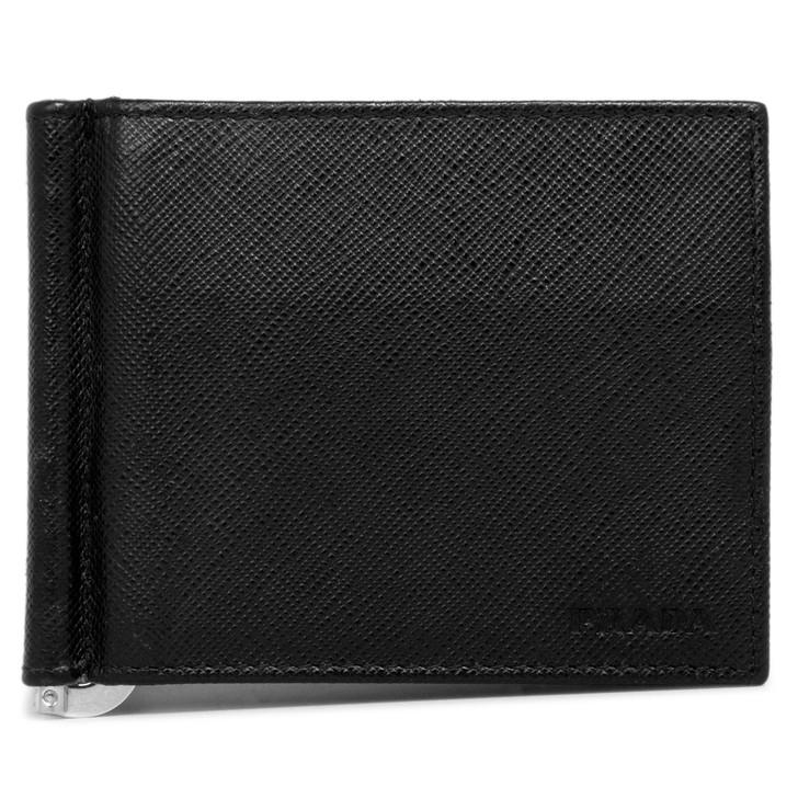 Prada Black Saffiano Money Clip Bifold Wallet
