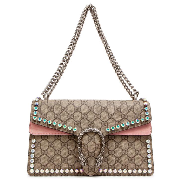 Gucci GG Supreme Monogram Crystal Small Dionysus Shoulder Bag