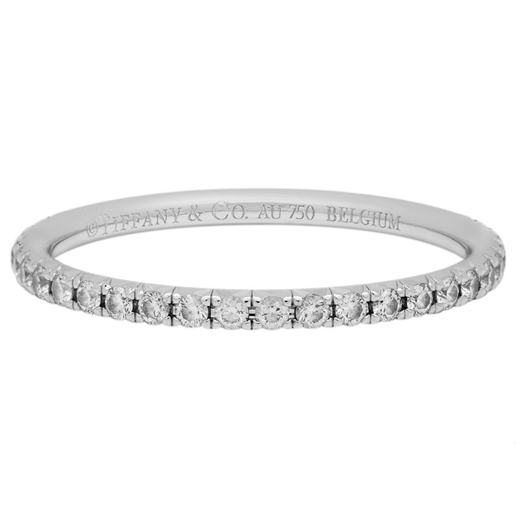 Tiffany & Co. 18K White Gold & Diamond  Metro Ring