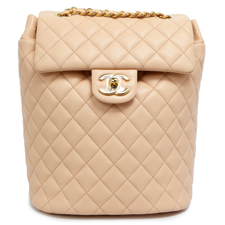 Chanel Beige Quilted Calfskin Small Urban Spirit Backpack