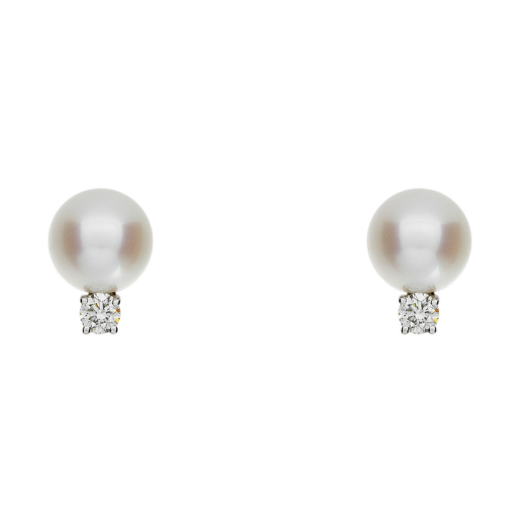 Tiffany 18K White Gold Signature Pearl Earrings