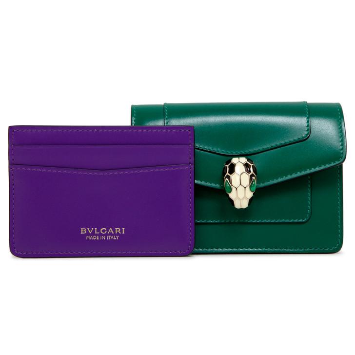 Bvlgari Emerald Green/Violet Amethyst Calfskin Serpenti Forever Credit Card Holder