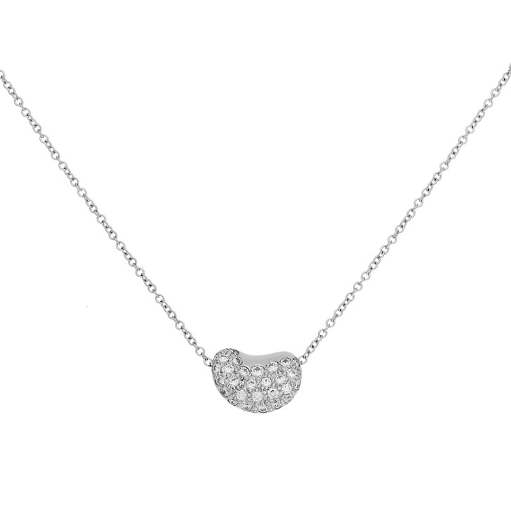 Tiffany & Co. Elsa Peretti Platinum & Diamond  Bean  Pendant