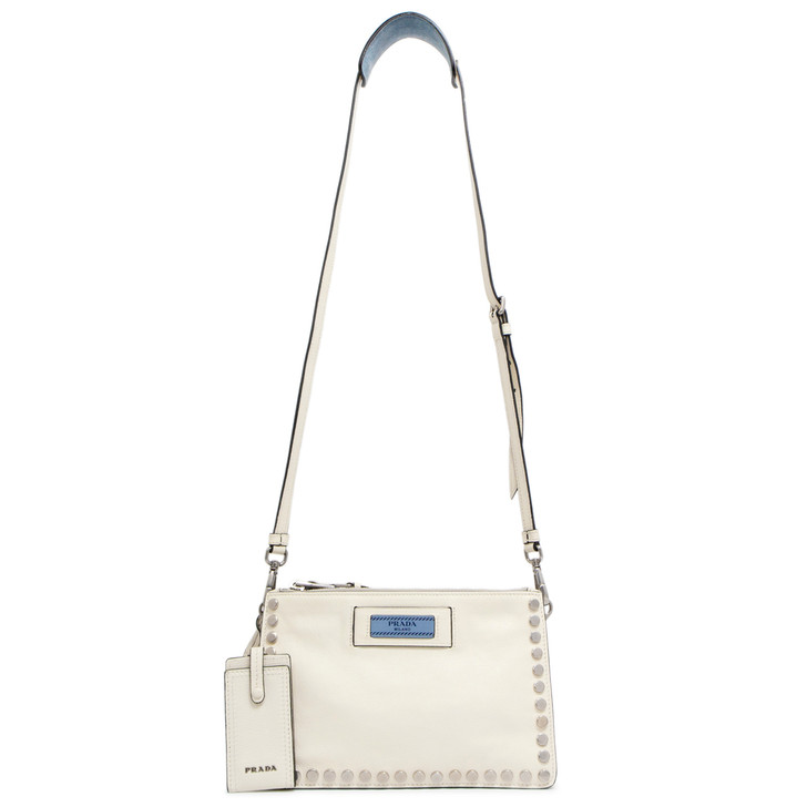 Prada Bianco Glace Calfskin Studded Etiquette Crossbody Bag