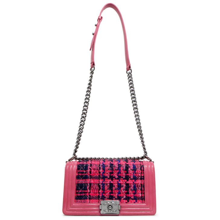 Chanel Fuchsia Patent & Tweed Medium Boy Bag