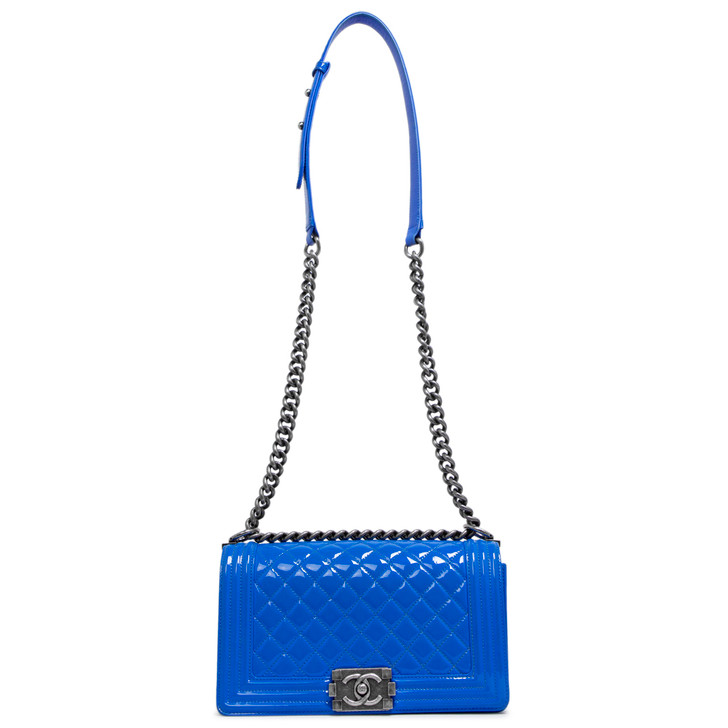 Chanel Blue Quilted Patent Medium Boy Bag