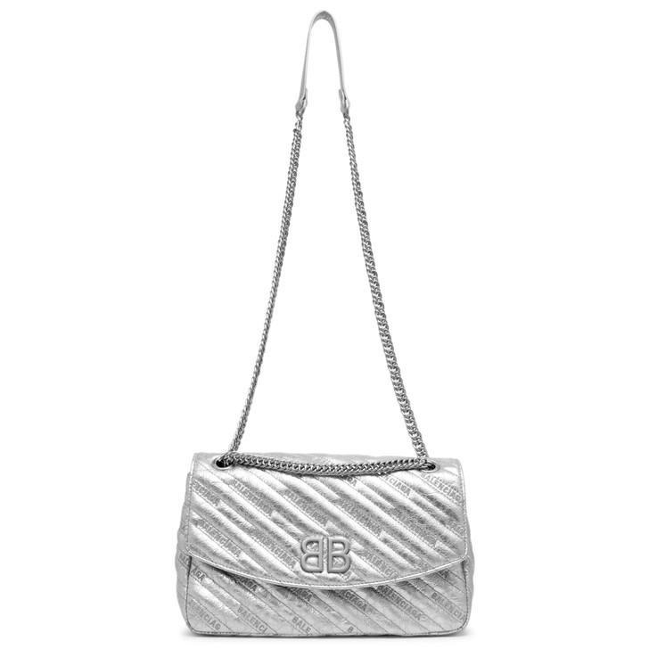 Balenciaga Metallic Silver Matelasse Calfskin BB Round M Shoulder Bag