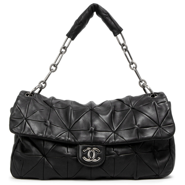 Chanel Black Quilted Lambskin Soft Squares Origami Flap Bag