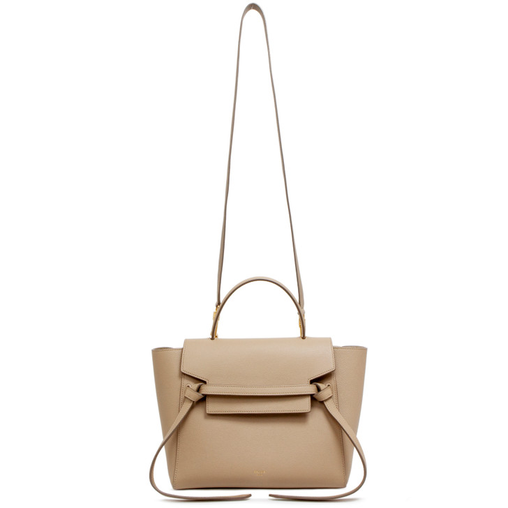 Celine Grained Calfskin Taupe Micro Belt Bag