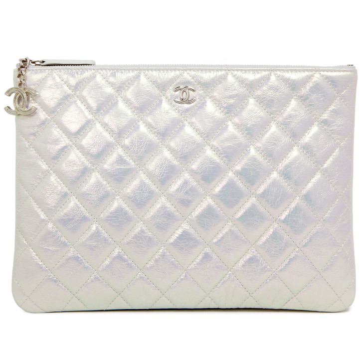Chanel Pearl Iridescent Crumpled Calfskin Medium Cosmetic Case