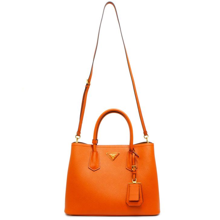 Prada Papaya Saffiano Cuir Medium Double Bag