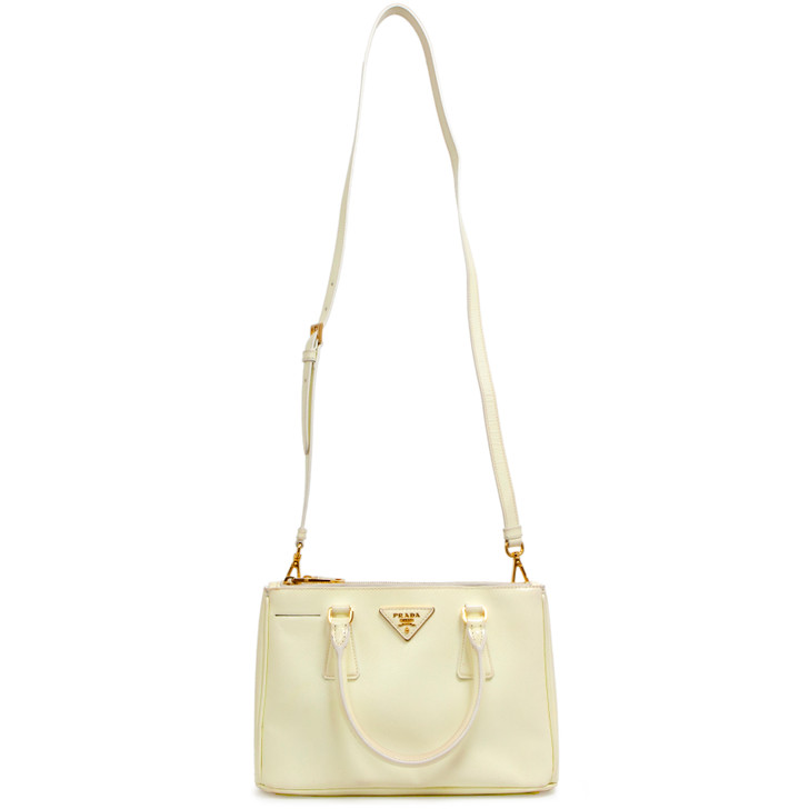 Prada Bianco Saffiano Vernice Mini Galleria Double Zip Tote