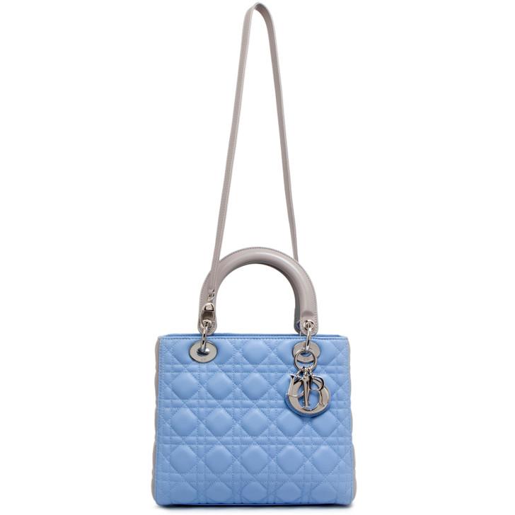 Dior Blue/Grey Cannage Lambskin Medium Lady Dior