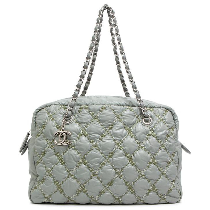 Chanel Grey Nylon Quilted Tweed Stitch Bubble Camera Bag