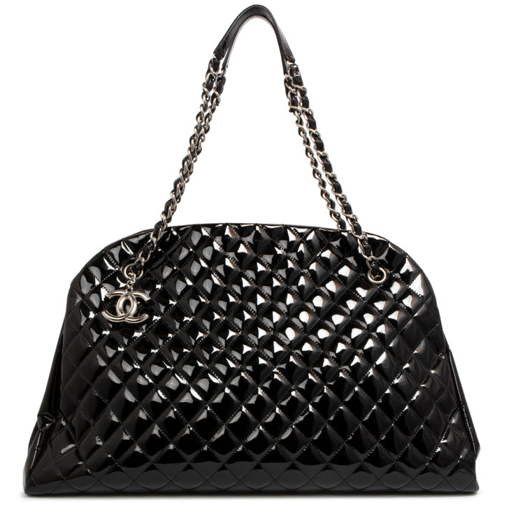 Chanel Black Quilted Patent XL Just Mademoiselle Bowling Bag