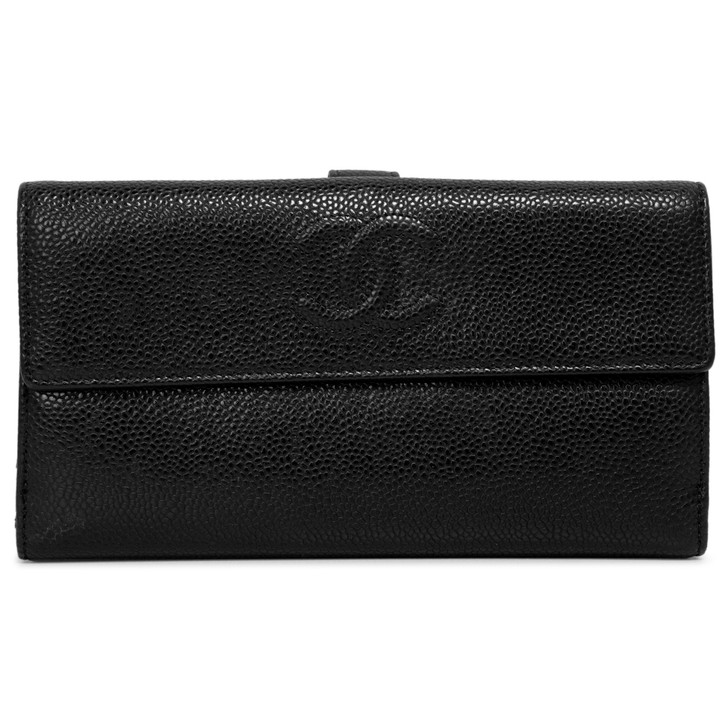Chanel Black Caviar Timeless Continental Wallet