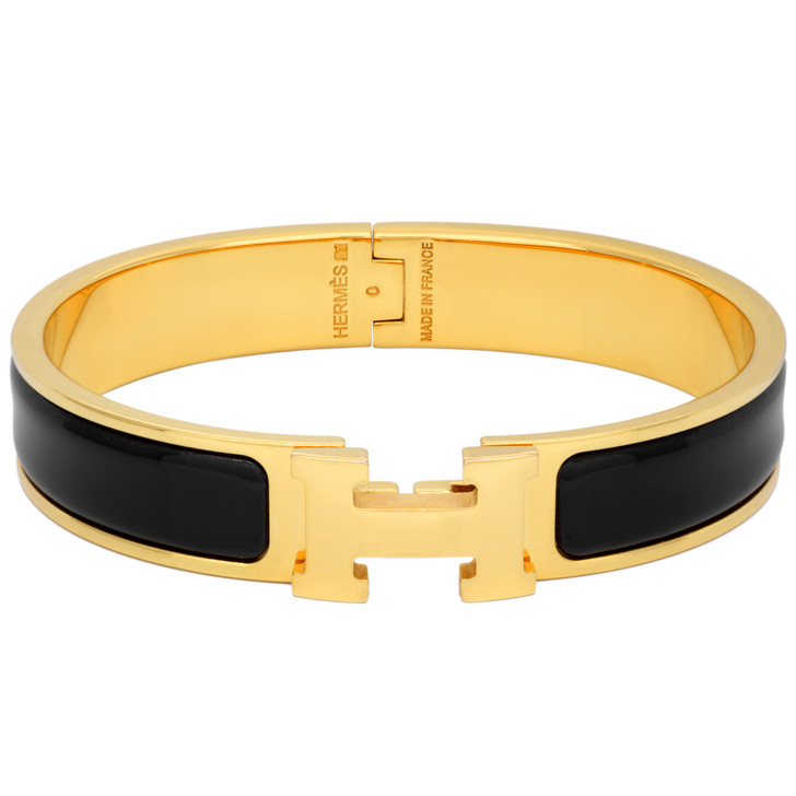 Hermes Black Enamel Narrow Clic  Clac Bracelet