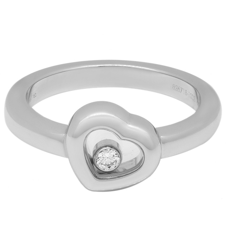 Chopard 18K White Gold Happy Diamond Heart  Ring