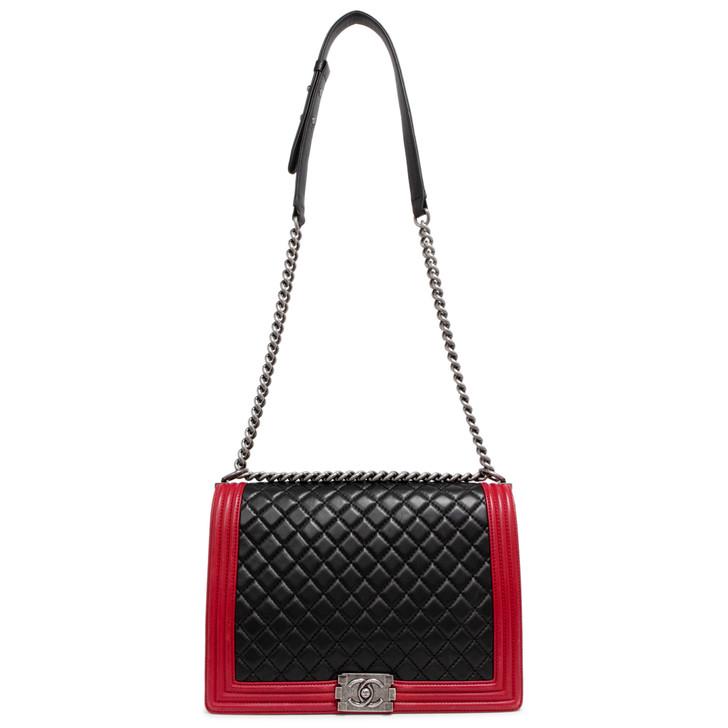 Chanel Black/Red Lambskin Large Boy Bag
