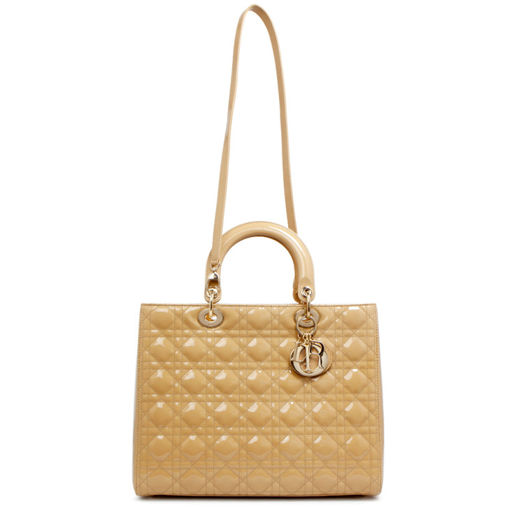 Dior Beige Patent Cannage Large Lady Dior