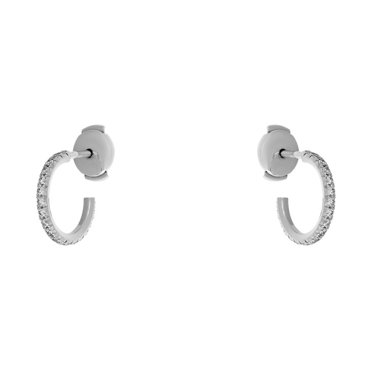 Tiffany & Co 18K White Gold & Diamond Metro Hoop Earrings