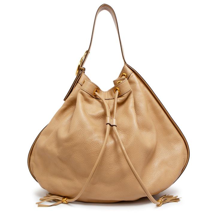 Gucci Beige Pebbled Calfskin Medium Interlocking Icon Shoulder Bag