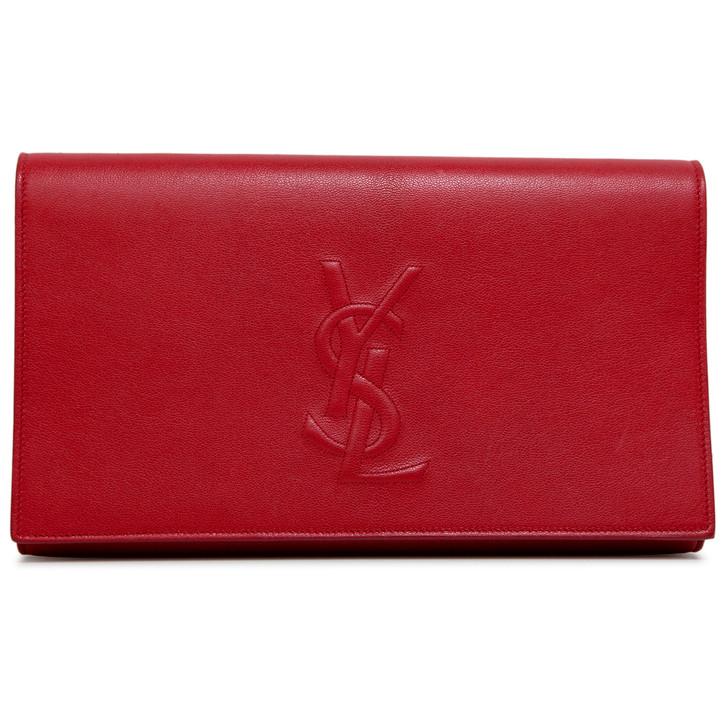 Yves Saint Laurent Red Calfskin Monogram Large Belle de Jour Clutch