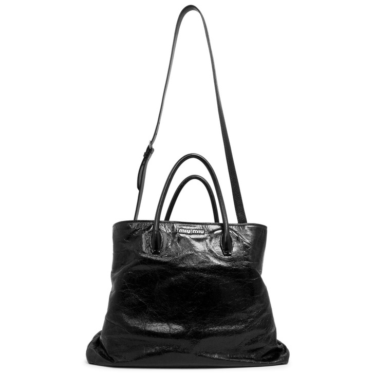 Miu Miu Nero Vitello Shine Top Handle Tote