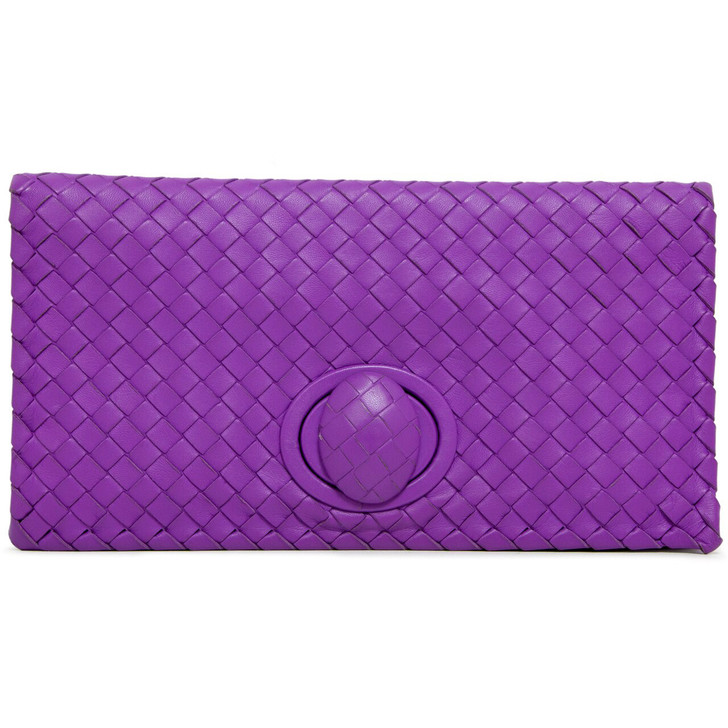 Bottega Veneta Purple Nappa Intrecciato Turnlock  Clutch