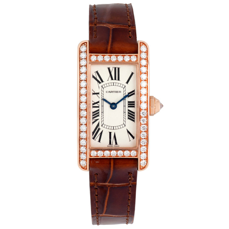 Cartier 18K Pink Gold & Diamond Small Tank Americaine Quartz Watch