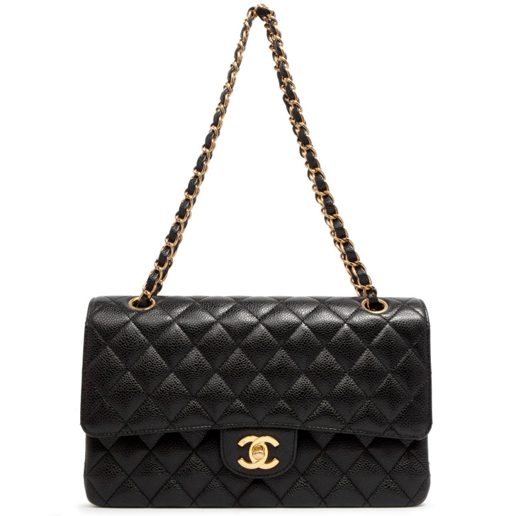 Chanel Black Quilted Caviar Medium Classic Double  Flap