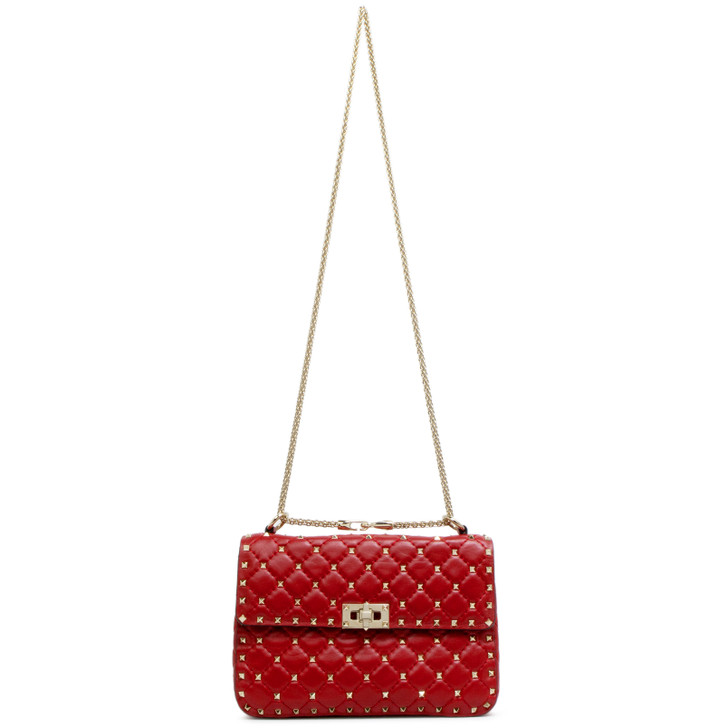 Valentino Red Lambskin Medium Rockstud Spike Shoulder Bag