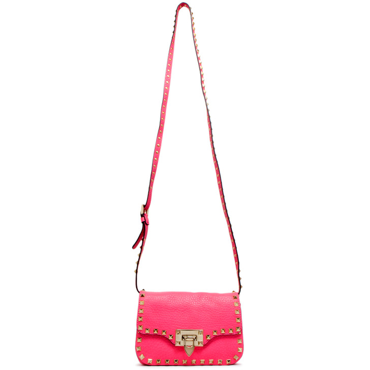 Valentino Pink Grained Calfskin Mini Rockstud Crossbody Bag