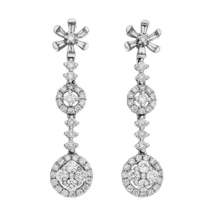 18K White Gold Diamond Blossom Ear Pendants