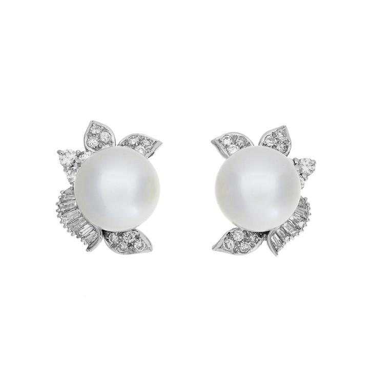 18K White Gold South Sea Pearl Diamond Earrings