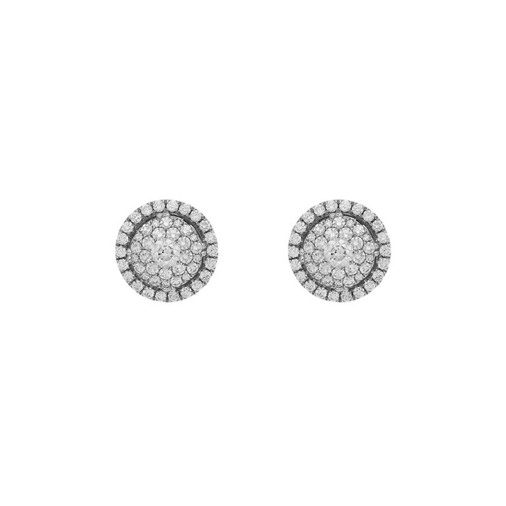 18K White Gold Diamond Halo Cluster Earrings