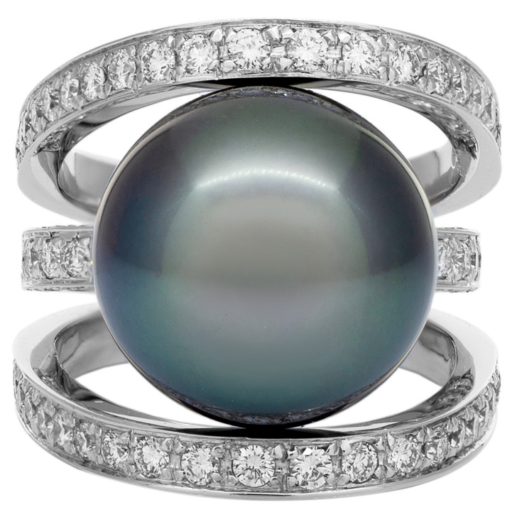18K White Gold Diamond Tahitian Black Pearl Ring