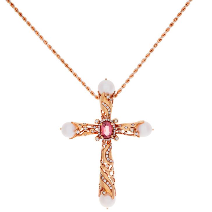 18K Rose Gold Diamond Sapphire Cross Pendant